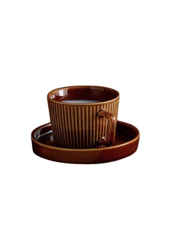 DILAS HOME Jalur Coffee Tea Cup with Saucer (Brown) DFB9FHL32D60E6GS_1