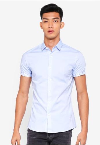 Topman blue Light Blue Muscle Fit Short Sleeve Shirt 8D88BAA2F29A82GS_1