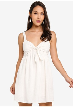 25061c109d9 Miss Selfridge white and beige Knot Front Hidden Playsuit 0AD7EAA5C3F29FGS_1