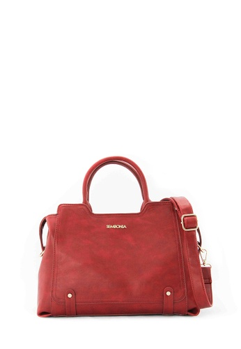 SEMBONIA red SEMBONIA Synthetic Leather Tote Bag (Red) 1D65FAC737BFE0GS_1
