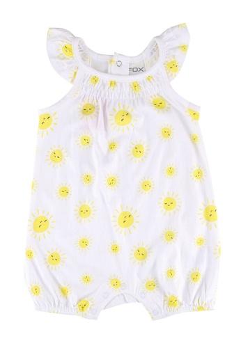 FOX Kids & Baby white Newborn Flutter Sleeve Printed Romper D2B2BKA4690B8EGS_1