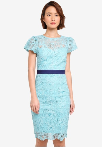 Paper Dolls blue Crochet Lace Fluted Sleeve Contrast Waist Dress 56B4DAA2FFF4E9GS_1