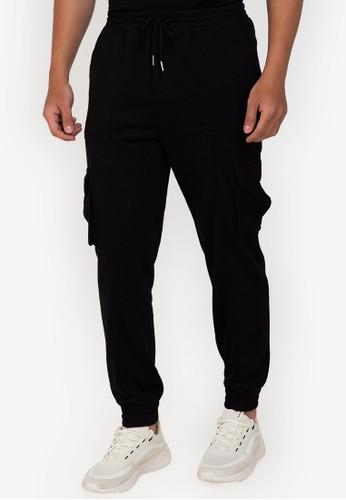ZALORA BASICS black Slim-Fit Cargo Jogger Pants 00D4AAA2B47FA5GS_1