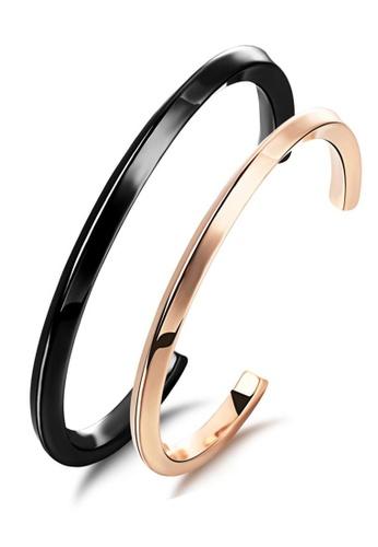 YOUNIQ black YOUNIQ Titanium 18K Rosegold & Black Steel Simple Round Cuff Bangle Set- Couple Bangles AA509ACB3A582BGS_1