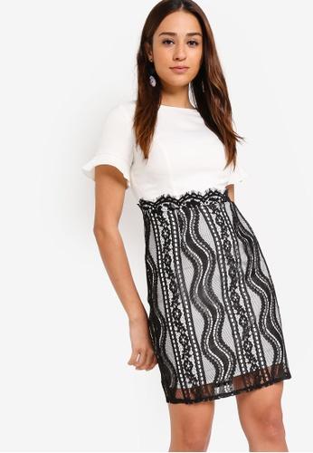 ZALORA black and white Panel Lace Dress 53B7BAAFABF55EGS_1