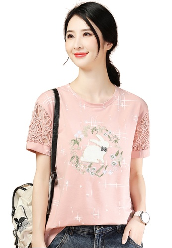 A-IN GIRLS pink Cute Lace Sleeve Stitching T-Shirt F447BAA1BAC4FBGS_1