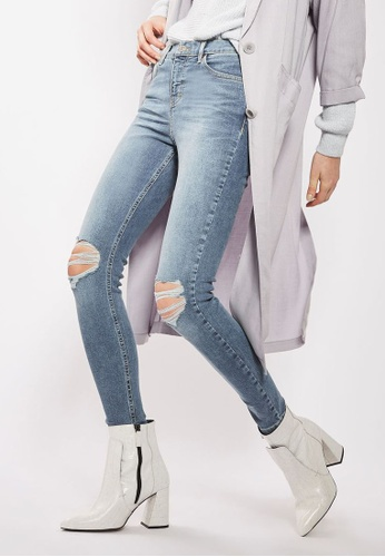 TOPSHOP blue Moto Mid Blue Ripped Jamie Jeans TO412AA88TFRMY_1