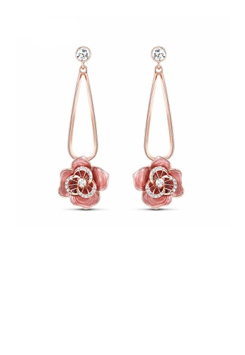 Glamorousky white Sweet Rose Golden Plated White Flower Earrings with Austrian Element Crystal B67C6ACFBE61CDGS_1