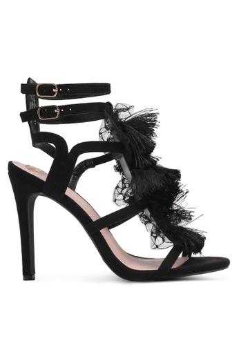 Velvet black Lace Detail Heels 815DFSH1378A06GS_1