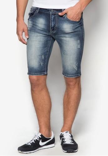 刷zalora taiwan 時尚購物網破水洗丹寧短褲, 服飾, 服飾