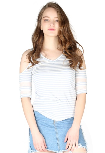 London Rag blue Mariah Stripe Cold Shoulder Top 40447AA1FFCD51GS_1