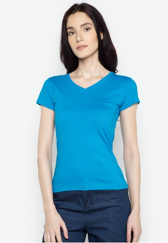 Organic blue V-neck 2 in 1 Shirt OR165AA0J27PPH_1