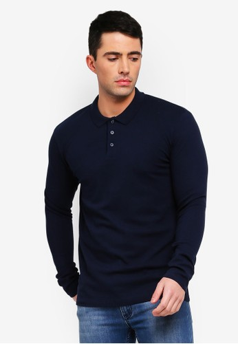 Selected Homme navy Wave Knitted Long Sleeve Polo Shirt 558BBAAD7AF9E5GS_1
