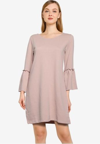 JACQUELINE DE YONG pink Prove 3/4 Bell Sleeve Dress 0D4CFAA04EE964GS_1