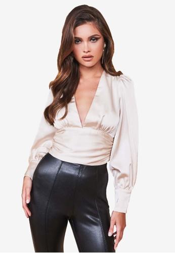 Lavish Alice beige Balloon Sleeve Tie Back Satin Top F1131AA8669EB7GS_1