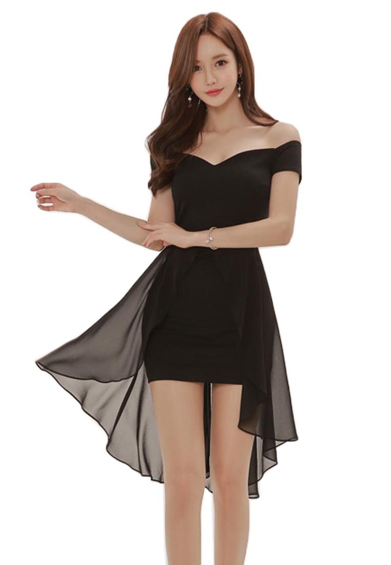 Piece shoulder A061235 Black Dress Bodycon Sunnydaysweety New Off 2018 One Black Wt4HqYSAn