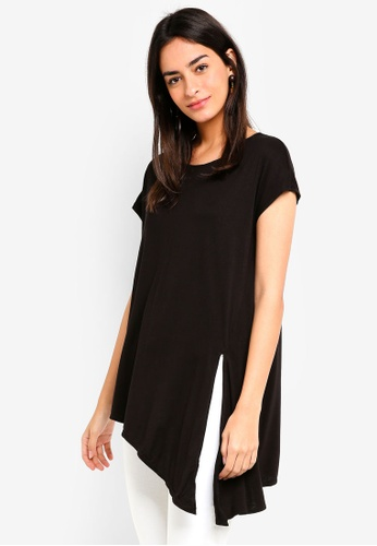 Max Studio black Knotted Hem Jersey Tee A69E1AA29447D8GS_1