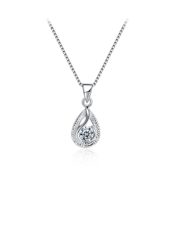 Glamorousky white 925 Sterling Silver Elegant Simple Fashion Water Drop Shape Pendant Necklace with Cubic Zircon 6C63EAC39EC587GS_1