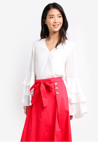 ZALORA white Tiered Sleeve Blouse 3C446AA51C8EA1GS_1