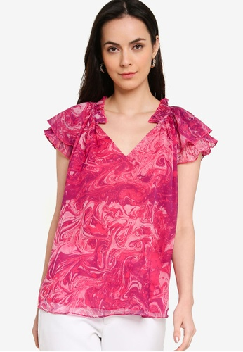 French Connection pink Endra Crinkle Frill V Neck Top 3F3D0AA8E64D1DGS_1