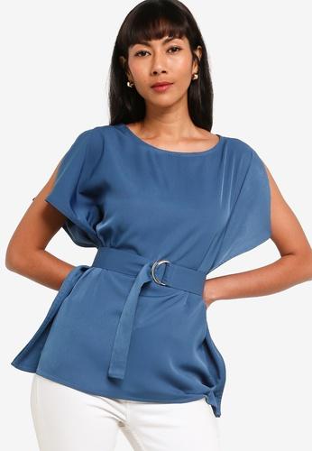 ZALORA BASICS blue Slit Sleeves Top With Belt A5357AA24F982DGS_1