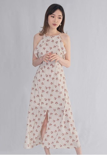 BEBEBEIGE multi BebeBeige Cut-In Floral Printed With Lining Long Dinner Dress 8C5A9AAC7A2EA9GS_1
