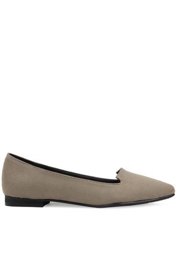SPUR beige Simple Pointed Toe Flats SP642SH2VRAHHK_1