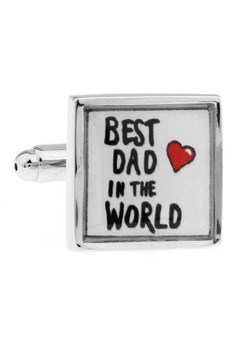 The Little Link Cufflinks white and silver Best Dad Cufflinks TH089AC39QIMSG_1