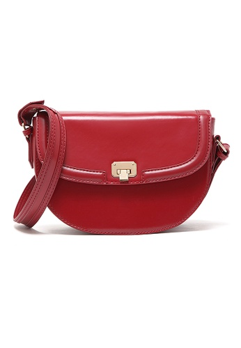 LULUGIFT red Lulugift Retro Red Simple Pu Leather Sling Bag LU989AC15EPGMY_1