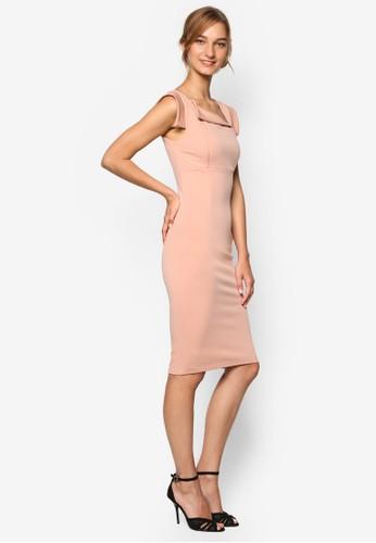 Foesprit女裝lded Neckline Bodycon Dress, 服飾, 服飾
