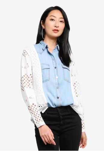 Desigual white Combination Denim Shirt 04108AABB3812CGS_1