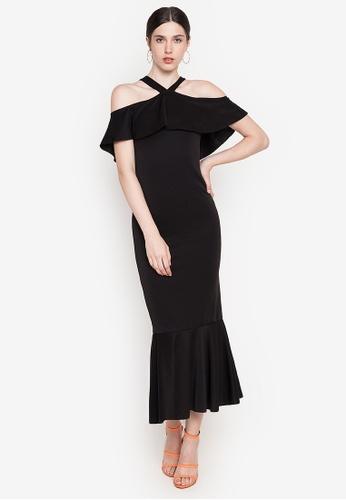 Ashley Collection black Halter Ruffle Hem Maxi Dress 4CCC4AAA2B62E1GS_1