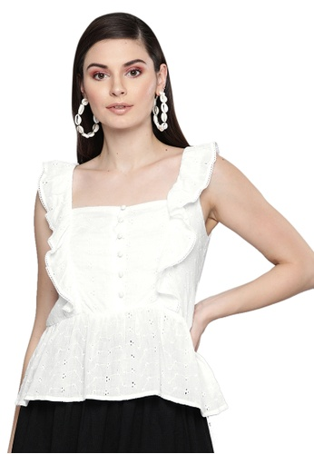SASSAFRAS white White Schiffli Button Peplum Top E4349AA36506F5GS_1