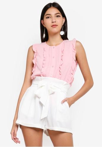 ZALORA pink Ruffled Button Down Shirt 91E0BAA0828EDAGS_1