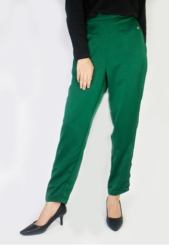 Zaryluq green Slim Button-Down Pants in Mystique 0D6C6AA3A55096GS_1