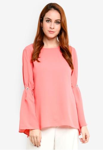 Aqeela Muslimah Wear orange Embellished Pleated Sleeve Top 9D081AA16E5E61GS_1