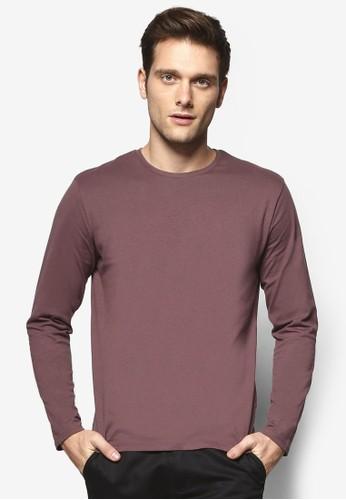 esprit hk簡約圓領長袖衫, 服飾, T恤