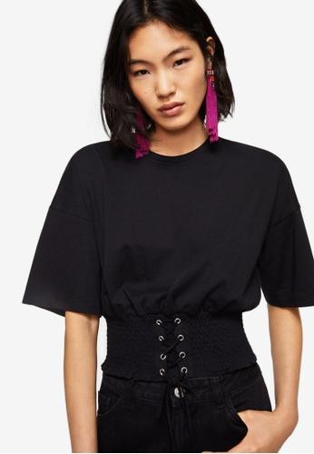 Mango black Corset Detail T-Shirt 67A10AAD9D37F7GS_1