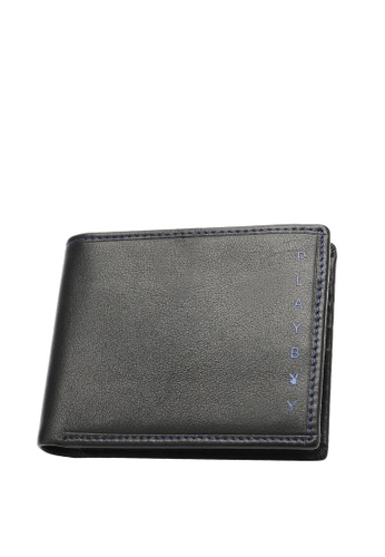 Playboy black Stitched Bifold Wallet 7029EAC9CE6DF1GS_1