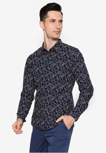 CK CALVIN KLEIN navy Linear Print Poplin Long-Sleeved Shirt 7A19EAA19D4B04GS_1