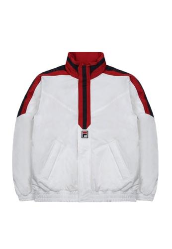 FILA white Korea Collection Unisex Side Striped Light Down Jacket 42BC6AAA707E8FGS_1