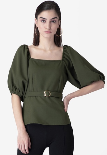 FabAlley green Puff Sleeves Belted Blouse A8949AAF5B5A46GS_1