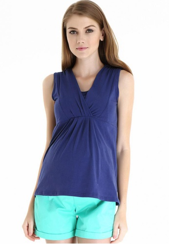 Bove by Spring Maternity navy Knitted Sleeveless Alexandra Empire Top LTN4502 SP010AA18AQJSG_1