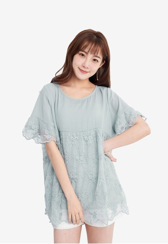 YOCO blue Blouse with Lace Trim 01E04AA6C08A77GS_1