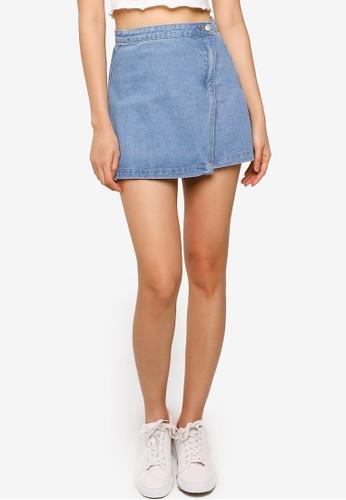 ZALORA BASICS blue Wrap Over Denim Mini Skirt 71CEFAA739E024GS_1