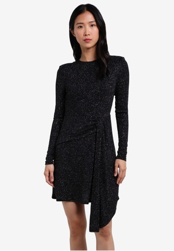 TOPSHOP black Asymmetrical Glitter Dress TO412AA0S4HTMY_1