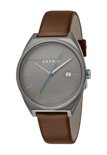 Esprit brown ESPRIT [Slice Gents] 40mm Brown Leather Strap Men Watch [ES1G056L0035] CAF2DAC252CC9CGS_1
