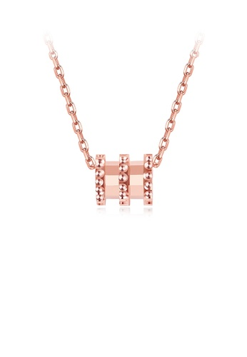 Glamorousky silver 925 Sterling Silver Simple Plated Rose Gold Geometric Cylindrical Pendant with Necklace 9CC48AC2B8D7D3GS_1