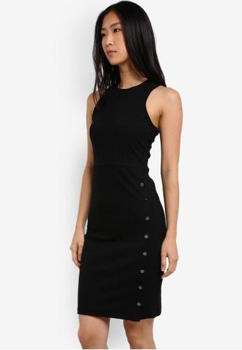 ZALORA black Rib Dress With Side Button Detail 5F34AAA41E39C3GS_1