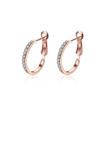 Glamorousky white Simple Plated Rose Gold Round Earrings with Cubic Zircon 4BC8FAC46C9288GS_1